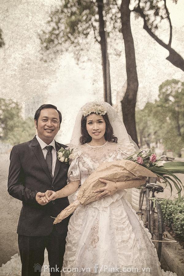 Bộ ảnh cưới này được thực hiện ở TP.HCM năm 2016 nhưng lại khiến cho người xem ngỡ rằng ảnh của những năm 80.